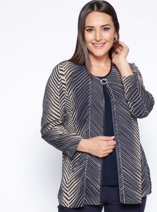 Unlined - Crew neck - Multi - Navy Blue - Plus Size Suit