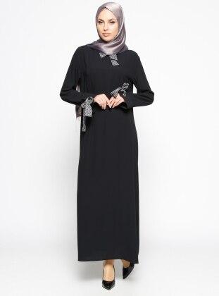 Kuş Gözü Detaylı Elbise - Siyah Antrasit