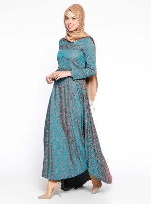 Şal Desenli Pileli Abiye Elbise - Yeşil