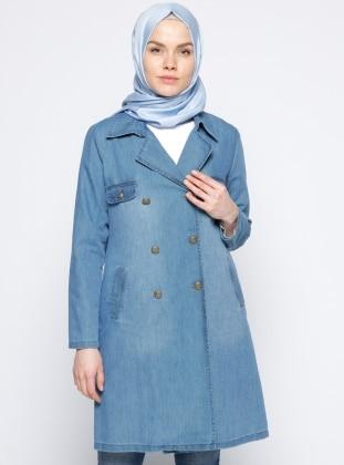 Şal Yaka Kot Kap - Buz Mavisi