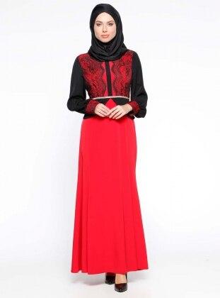 Taş İşlemeli Dantel Detaylı Abiye Elbise - Kırmızı
