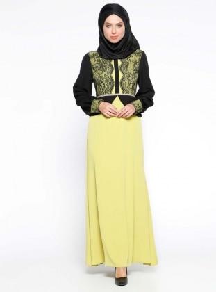 Taş İşlemeli Dantel Detaylı Abiye Elbise - Yağ Yeşili