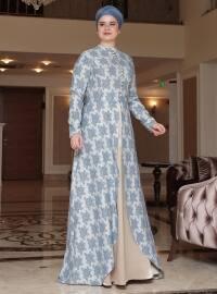 Saliha Afra Brokar Abiye Elbise - İndigo - Saliha