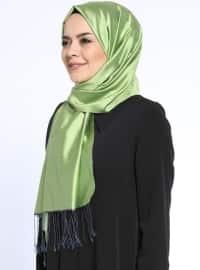 Düz Renkli İpek Şal - Fıstık Yeşili - Silk Home
