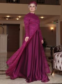 Saliha Efsun Abiye Elbise - Fuşya - Saliha