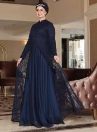 Saliha Efsun Abiye Elbise - Lacivert - Saliha