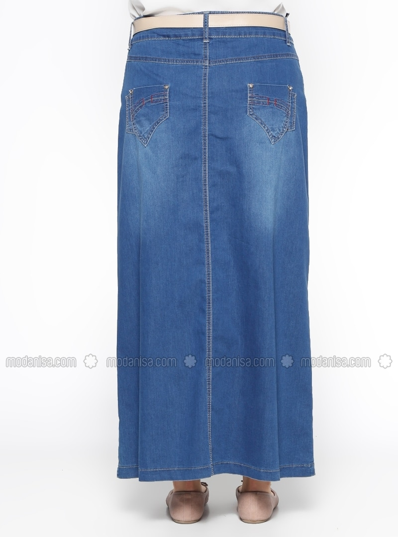 denim unlined navy blue plus size skirt ginezza