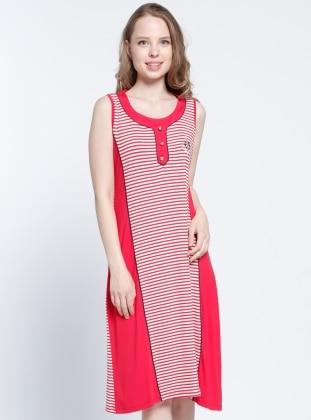 Çizgili Plaj Elbisesi - Kırmızı Beyaz