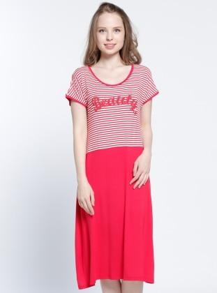 Çizgili Plaj Elbisesi - Kırmızı