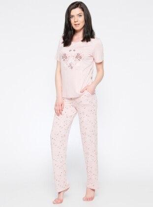 Desenli Pijama Takımı - Pembe