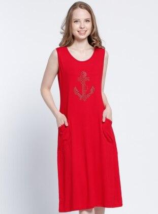 Drop Baskılı Plaj Elbisesi - Kırmızı