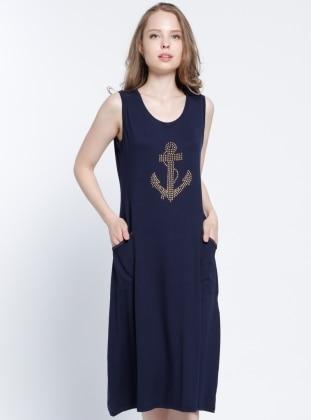 Drop Baskılı Plaj Elbisesi - Lacivert