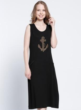 Drop Baskılı Plaj Elbisesi - Siyah