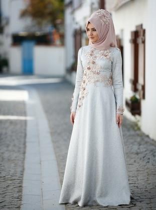 SomFashion Hayal Brokar Abiye Elbise - Buz Mavi