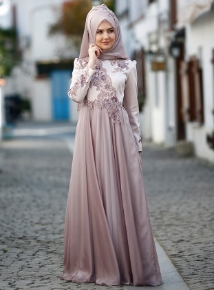 SomFashion Leylak Abiye Elbise - Lila