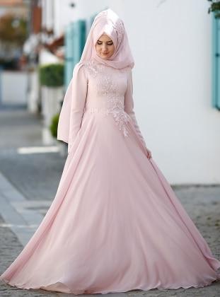 Leylak Abiye Elbise - Pudra