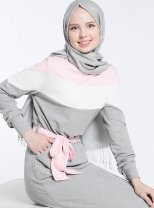 Natürel Kumaşlı Spor Elbise - Gri Pembe