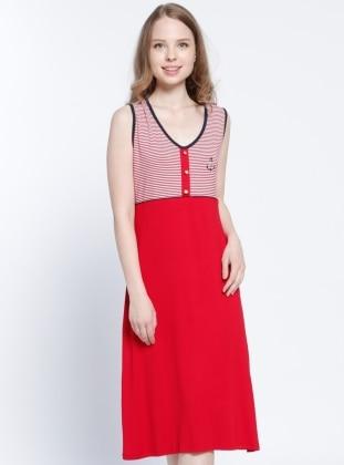 Red - Stripe - V neck Collar - Nightdress