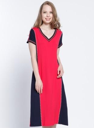 Plaj Elbisesi - Kırmızı Lacivert