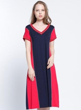 Plaj Elbisesi - Lacivert Kırmızı