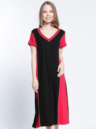 Plaj Elbisesi - Siyah Kırmızı
