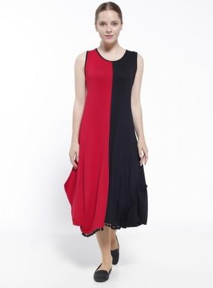 Red - Black - Crew neck - Nightdress