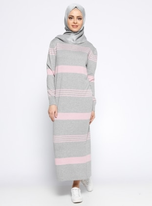 Mevsimlik Elbise - Gri Pembe
