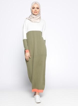 Mevsimlik Elbise - Kemik Haki