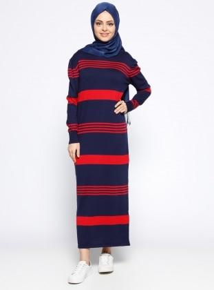 Mevsimlik Elbise - Lacivert Kırmızı