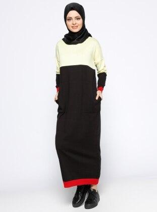 Mevsimlik Elbise - Sarı Siyah