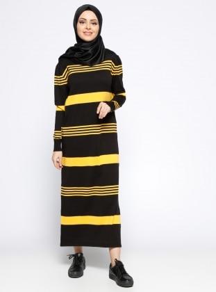 Mevsimlik Elbise - Siyah Sarı