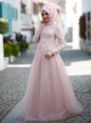 Violet Abiye Elbise - Pudra