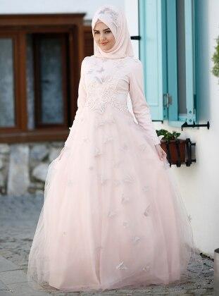 Yasemin Abiye Elbise - Pudra
