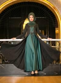 Kaftanlı Abiye Elbise - Siyah Zümrüt - Dersaadet