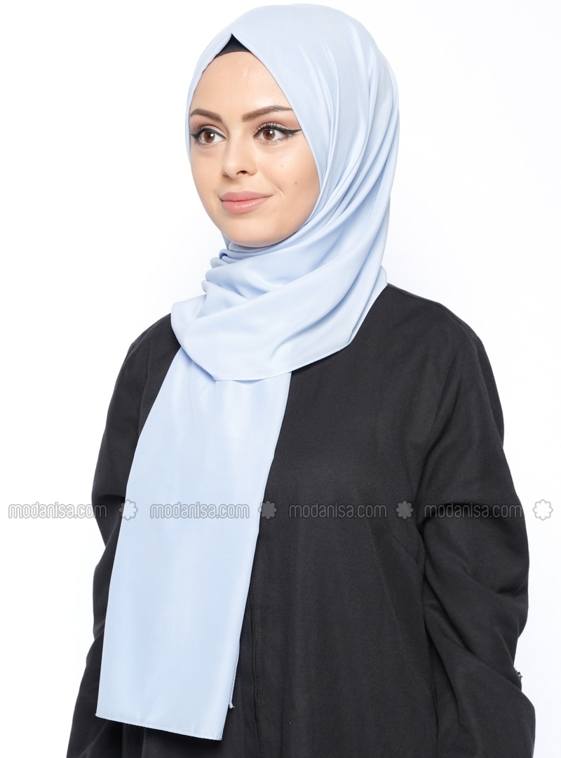 Blue - Plain - Chiffon - Shawl