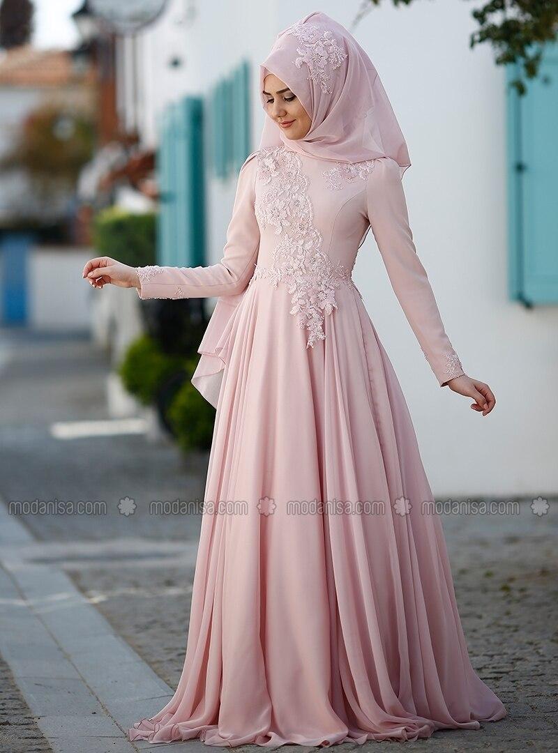 9a5a155645600 Powder - Fully Lined - Crew neck - Muslim Evening Dress