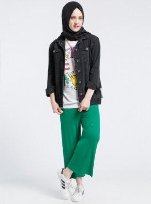 Beli Lastikli Pantolon - Yeşil