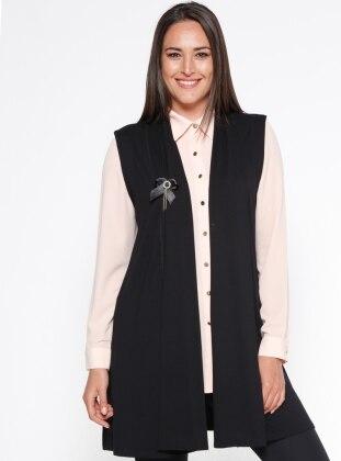 black - shawl collar - plus size vest - sementa