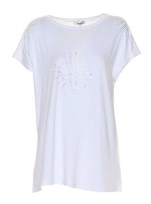 Drop Baskılı Kolsuz Bluz - Beyaz