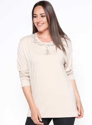 Beige – Crew Neck – Plus Size Blouse – Sementa
