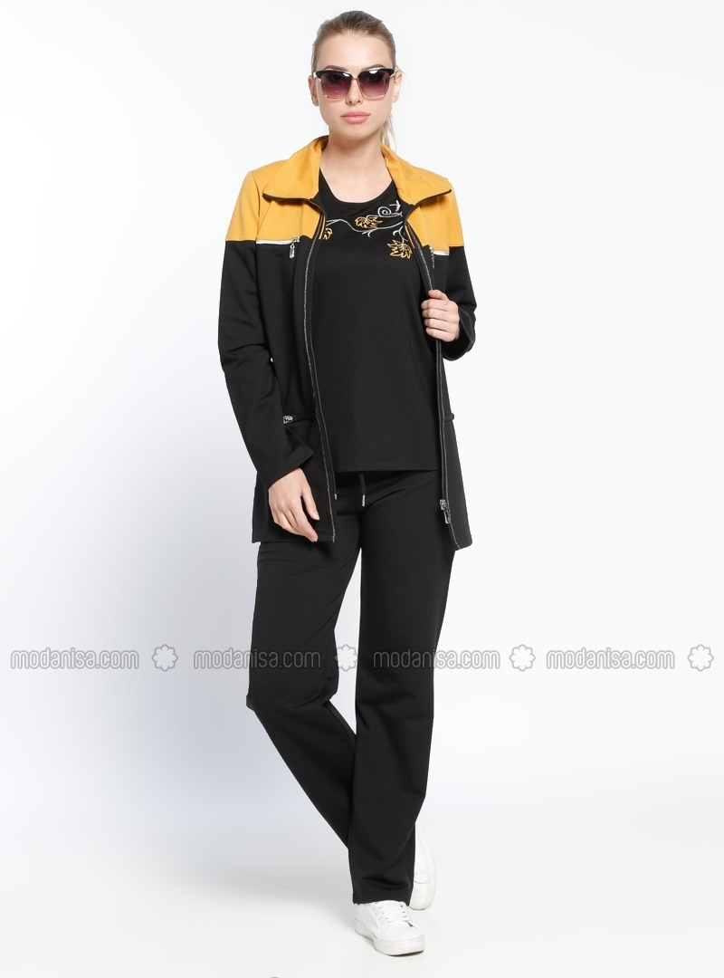 Yellow - Black - Polo neck - Tracksuit Set