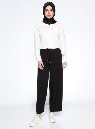 Beha Beli Lastikli Pantolon - Siyah