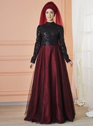 Mevra Canay Abiye Elbise - Siyah Bordo