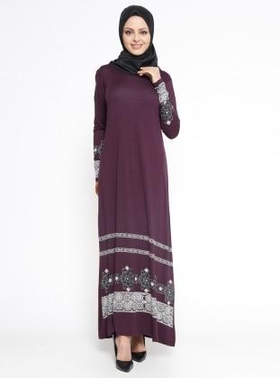 Desenli Elbise - Mürdüm