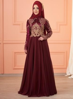 İmran Abiye Elbise - Bordo