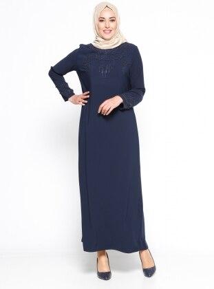 İnci Detaylı Abiye Elbise - Lacivert