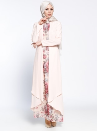 Powder - Multi - Crew neck - Fully Lined - Muslim Evening Dress