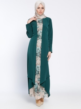 Green - Multi - Crew neck - Fully Lined - Muslim Evening Dress