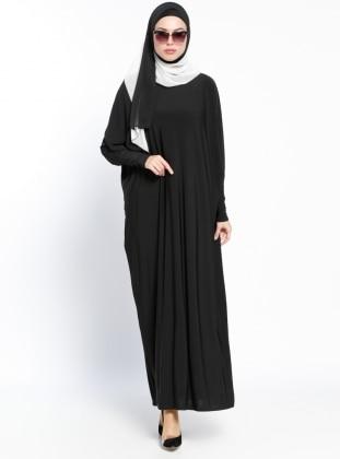 Yarasa Kollu Elbise - Siyah Arzu Ergen
