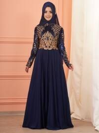 Mevra İmran Abiye Elbise - Lacivert - Mevra